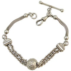 Antique Silver Bracelet, Victorian Albertina Chain with Toggle & Clip Fastener