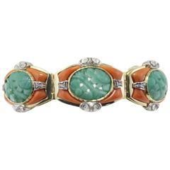 Luise Gold Coral Jade Diamond Clamper Bracelet