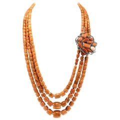 Luise Gold Silver Diamond Sapphire Coral Necklace