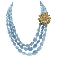 Luise Gold Silver Sapphire Aquamarine Necklace