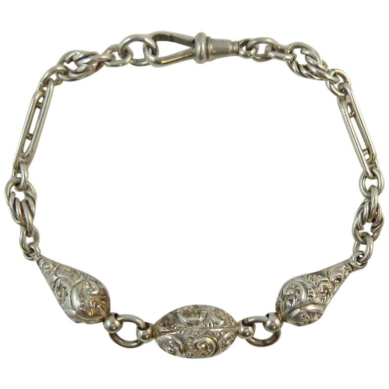 4f52465b1 Victorian Fancy Silver Albertina Bracelet, Hand Engraved, Knot and Trombone  Link For Sale