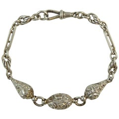 Victorian Fancy Silver Albertina Bracelet, Hand Engraved, Knot and Trombone Link