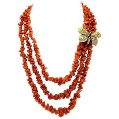Luise Gold Silver Diamond Sapphire Garnet Coral Necklace