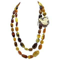 Gold Silver Sapphire Ruby Emerald Bone Amber Necklace