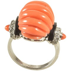 Coral Diamonds Onyx Cocktail Ring, circa 1940