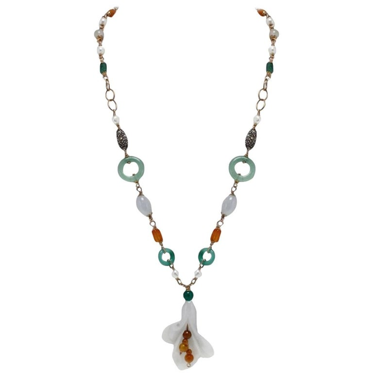 Gold Silver Stone Necklace