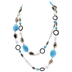 Luise Gold Silver Stone Pearl Onyx Necklace