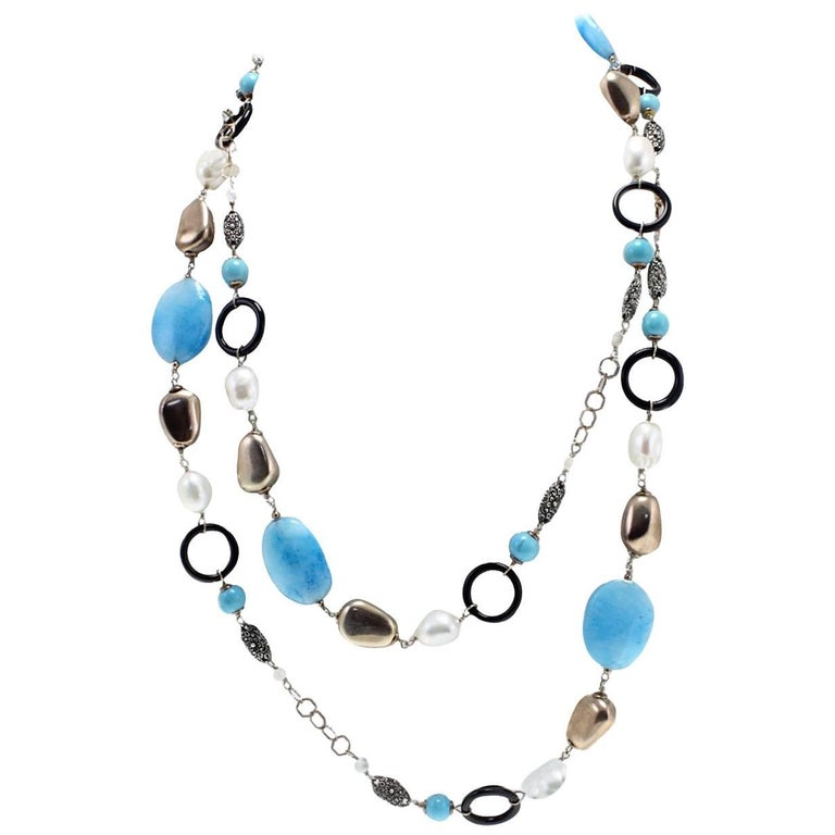 Gold Silver Stone Pearl Onyx Necklace