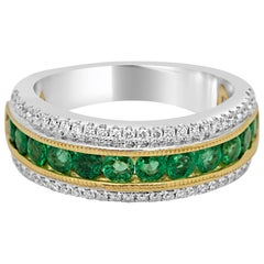 Emerald Diamond Three Row Channel Set Two Color Gold Cocktail Fashion Band Ring