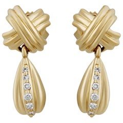 Tiffany & Co. Yellow Gold Signature X Drop Diamond Earrings