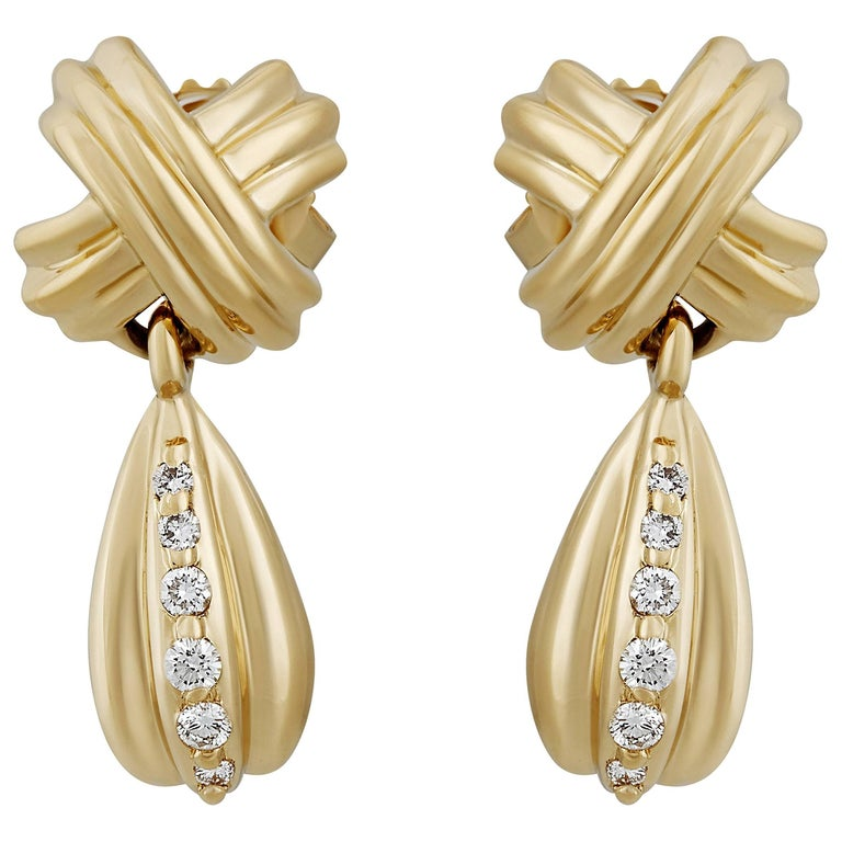 Yellow Gold Signature X Drop Diamond Earrings For