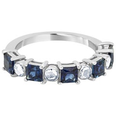 Blue Sapphire Princess Cut Diamond Rosecut Fashion Band Gold Ring