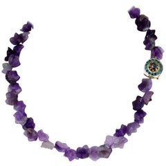 Gold Silver Amethyst Emerald Diamonds Necklace