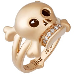 Christian Dior 18 Karat Rose Gold Diamond Skull Cocktail Ring