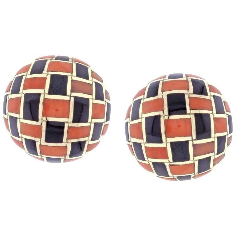 Tiffany & Co. Coral and Onyx Checker Board Earrings For Sale
