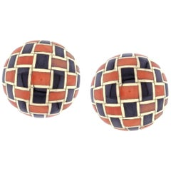 Tiffany & Co. Coral and Onyx Checker Board Earrings