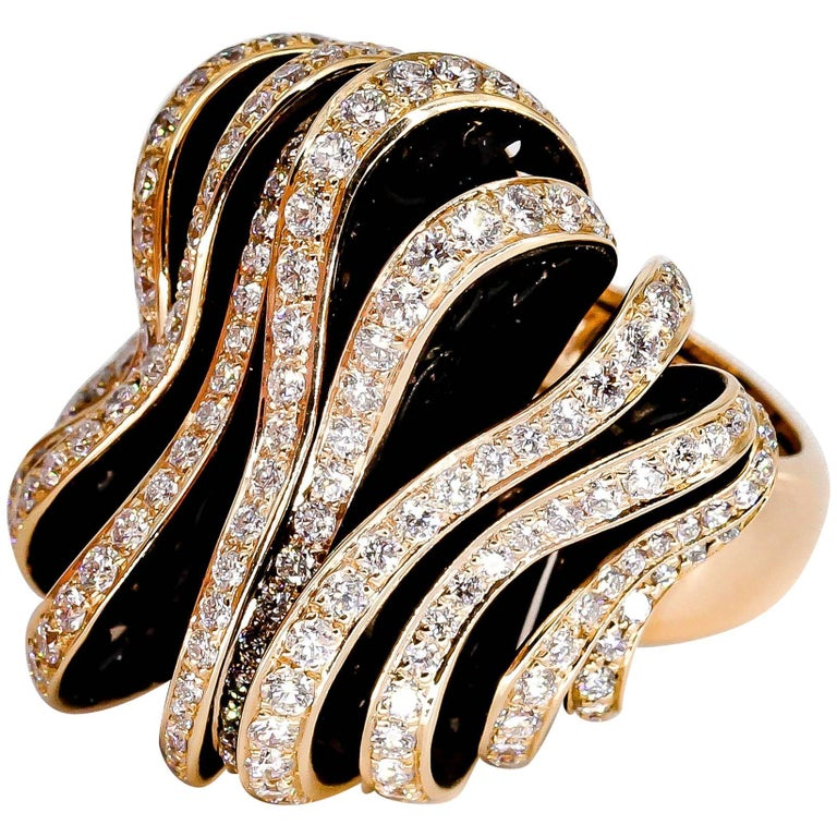 De Grisogono Diamond and Pink Gold Fashion Ring 1