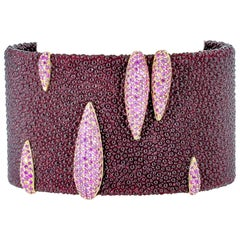 De Grisogono Pink Sapphire, Stingray and Gold Bangle Bracelet