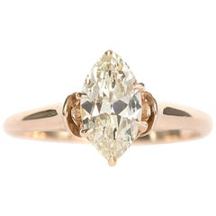 1890s Victorian Antique Marquise Cut Diamond Engagement Ring