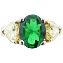 Natural Tsavorite and Yellow Diamond Ring