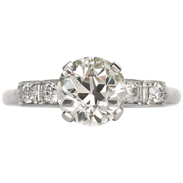 Edwardian Engagement Rings For Sale: 1910 Edwardian Platinum Old European Brilliant Cut Diamond