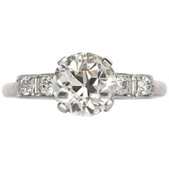 1910 Edwardian Platinum Old European Brilliant Cut Diamond Engagement Ring