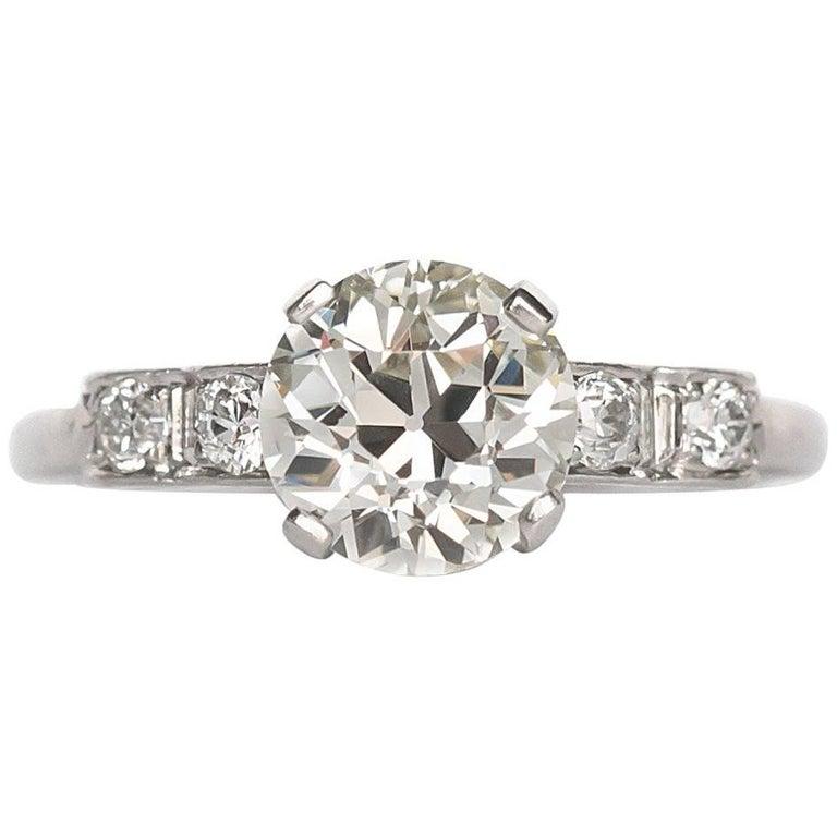 1910 Edwardian Platinum Old European Brilliant Cut Diamond Engagement Ring