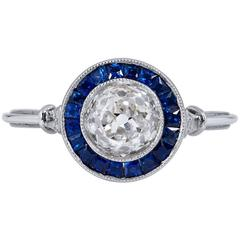 1.16 Carat Old European Cut Diamond Sapphire Platinum Ring
