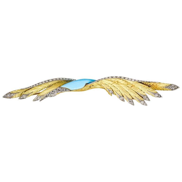 French Diamond Enamel Gold Platinum Bird Brooch