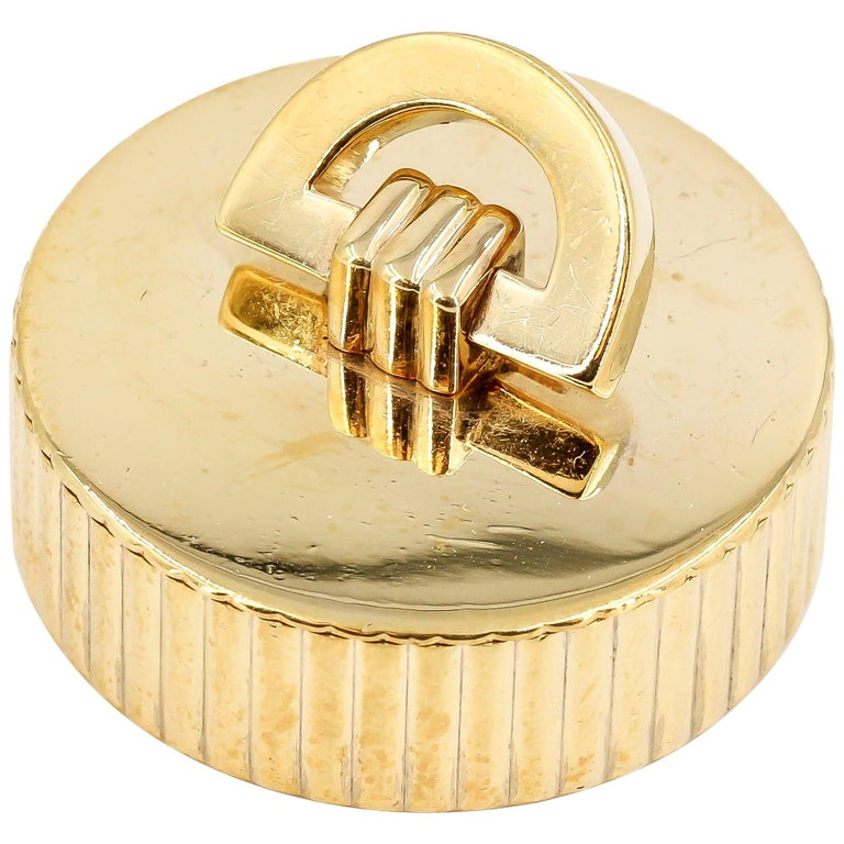 Cartier London Round Pill Box with Removable Lid For Sale