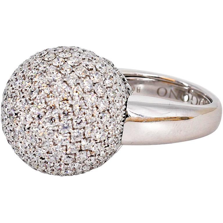 De Grisogono Diamond and White Gold Dome Ring For Sale