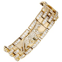 Cartier Panther Diamond and Yellow Gold Link Bracelet
