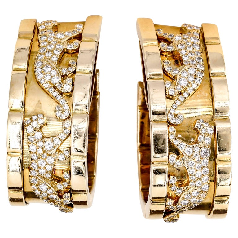 Cartier Panther Diamond and Yellow Gold Hoop Earrings