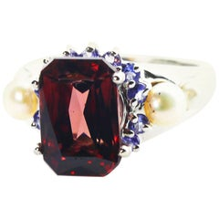 7.2 Carat Red Zircon, Sapphire, Pearl Sterling Cocktail Ring