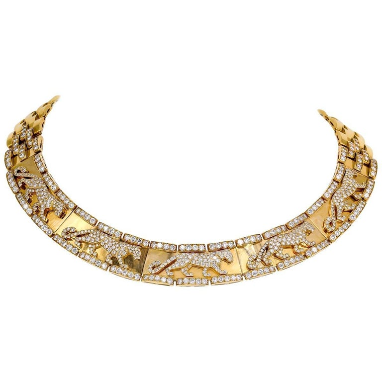 Cartier Panther Diamond and Yellow Gold Necklace For Sale