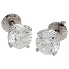 Tiffany & Co. 2.04 Carat Platinum Diamond Stud Earrings