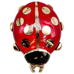 Cartier Yellow Gold and Enamel Ladybug Pin