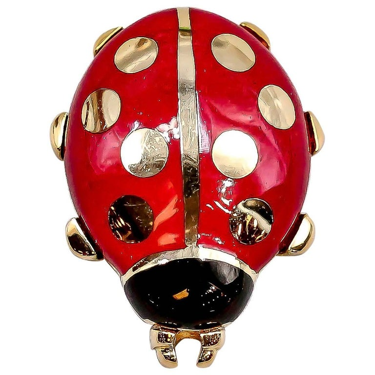Cartier Yellow Gold and Enamel Ladybug Pin For Sale