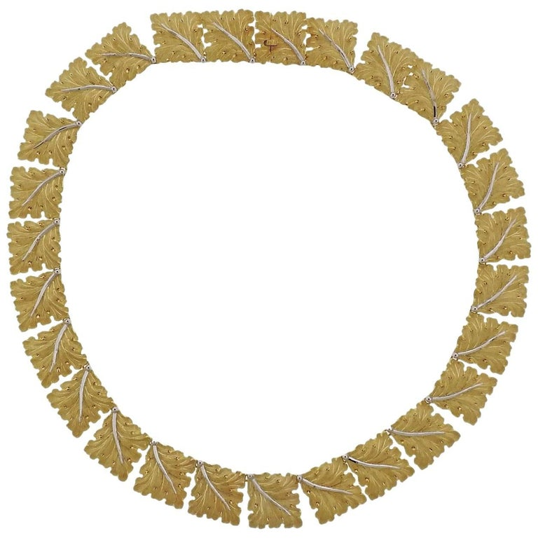Buccellati Gold Leaf Link Necklace