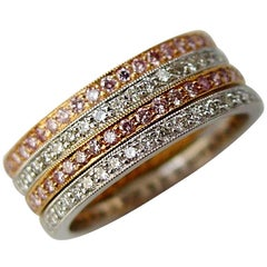 Set of Rose Gold Platinum Pink and White Diamond Band Rings