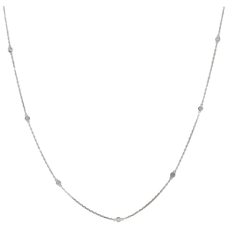 White Gold 0.62 Carats Diamonds by the Yard Necklace