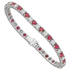 Burmese Ruby and Diamond Tennis Bracelet
