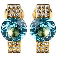 Chopard  Diamond and Topaz Yellow Gold Earrings