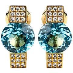 Chopard  Diamond and Topaz Yellow Gold Earrings
