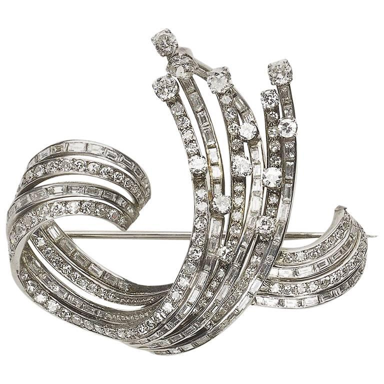 Diamond Spray Brooch