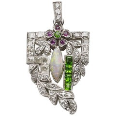 Diamond, Opal and Green Garnet Pendant