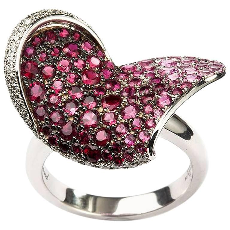 Chopard Ruby and Diamond Heart Flower Ring For Sale