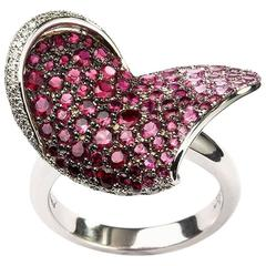 Chopard Ruby and Diamond Heart Flower Ring