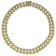 Georges Lenfant 1960s Double Row Gold Circlet Link Necklace