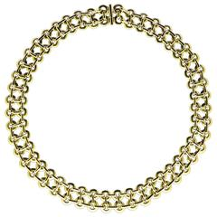 Georges Lenfant 1960s Double Row Gold Circlet Link Necklace